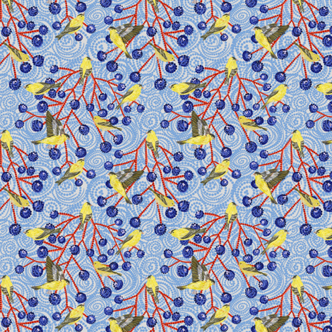 Goldfinches grapes mod (dustyblue) fabric by helenpdesigns on Spoonflower - custom fabric