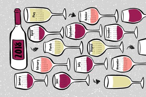 Wine Calendar 2018 fabric by digidivagraphics on Spoonflower - custom fabric