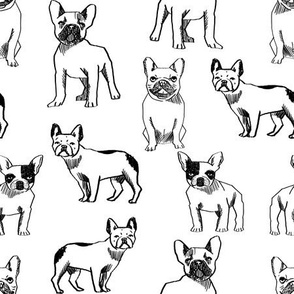 french bulldog fabric - black and white dog fabric