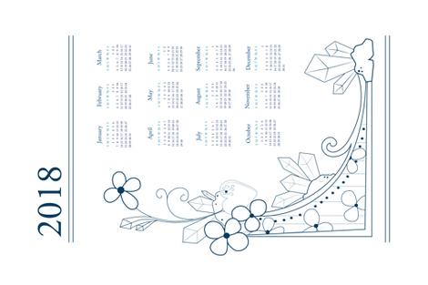 2018 calendar fabric by svaeth on Spoonflower - custom fabric