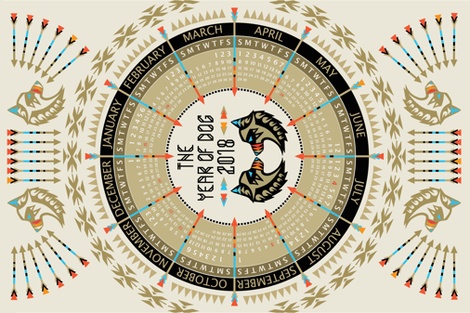 The_Year_of_Dog_2018_Calendar fabric by lusine on Spoonflower - custom fabric