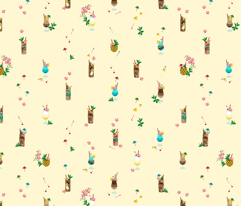 Waikiki Tiki small yellow fabric by hannahshields on Spoonflower - custom fabric