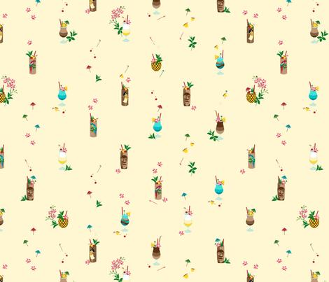 Waikiki Tiki small yellow fabric by hannahshields on Spoonflower - custom fabric