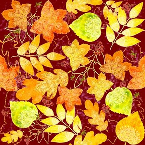 Rustic Fall Leaves (burgundy)