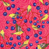 Goldfinches & grapes mod (rose)