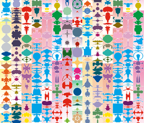 Spaceships 1908-2016 fabric by kylwell on Spoonflower - custom fabric
