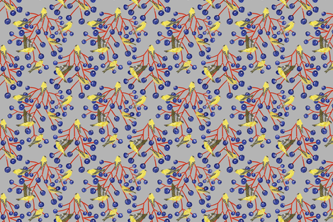 Goldfinches & grapes (silver) fabric by helenpdesigns on Spoonflower - custom fabric