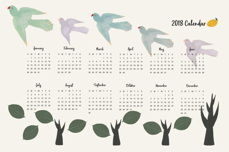 2018 Calendar Birds and Trees fabric by frumafar on Spoonflower - custom fabric