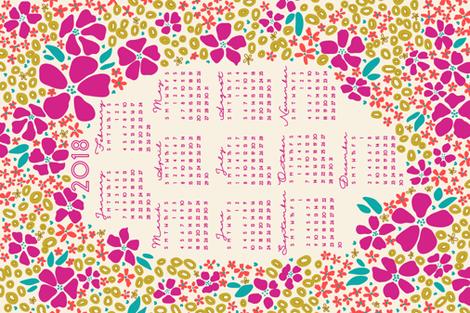2018 Floral Tea Towel Calendar fabric by spottedpepperdesigns on Spoonflower - custom fabric