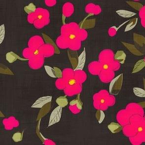 Fuchsia Flowers on Charcoal