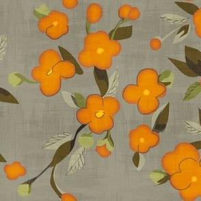 Golden Flowers on Gray