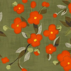 Pimento Flowers on Olive Green
