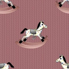 Rocking Horses on Soft Dusty Pink Knit