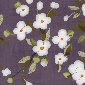Pearl Gray Flowers on Lavender