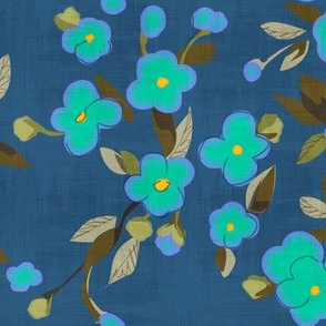 Turquoise Flowers on Blue
