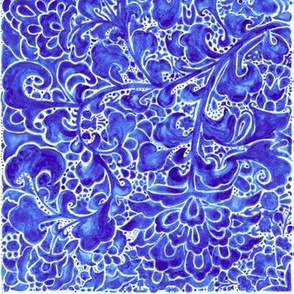 Watercolor Chinoiserie Block Floral Print in Blue Porcelain Tiles