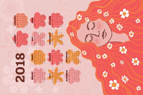 2018 Calendar Flower Child  fabric by andrea_thomas on Spoonflower - custom fabric