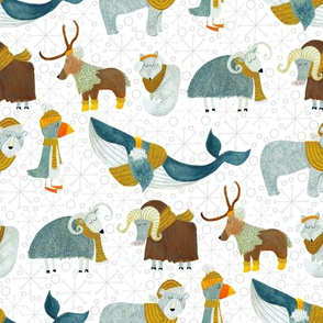 Pattern #72 - Arctic Animals with woolly scarves - Medium