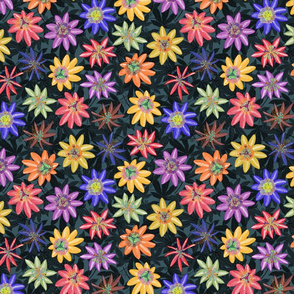 Pattern #77 - Passion Flowers (on dark background) SM