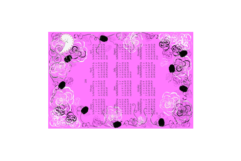 Pink Year 2018 Tea Towel Calendar fabric by gracelillydesigns on Spoonflower - custom fabric
