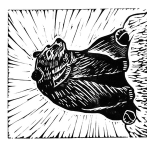 Bear linocut tea towel