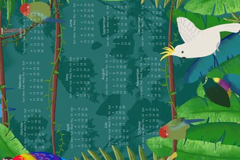 Tropical Birds - 2018 Tea Towel fabric by popelephant on Spoonflower - custom fabric