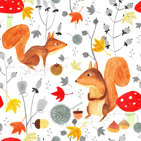 Pattern #64 - Autumn woodland squirrels fabric by irenesilvino on Spoonflower - custom fabric