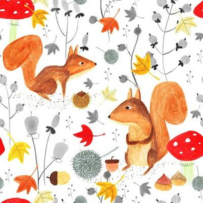 Pattern #64 - Autumn woodland squirrels