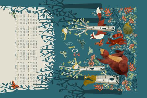 In the woods 2019 teatowel calendar fabric by cjldesigns on Spoonflower - custom fabric