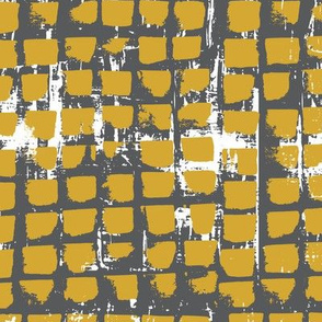 Abstract Mustard and grey brush stroke grid