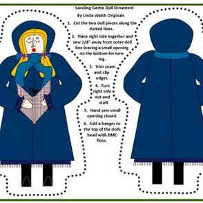 Christmas Caroling Gertie Cut and  Sew Doll