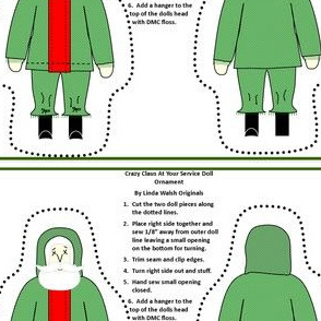 Christmas Crazy Claus At Your Service Cut and Sew Doll