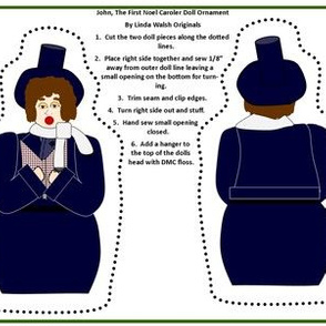 Christmas John The First Noel Caroler Cut and Sew Doll