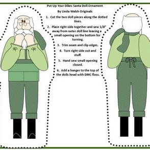 Christmas Put Up Your Dukes Santa Cut and Sew Doll