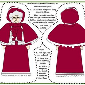 Christmas Victorian Mrs Claus Cut and Sew Doll