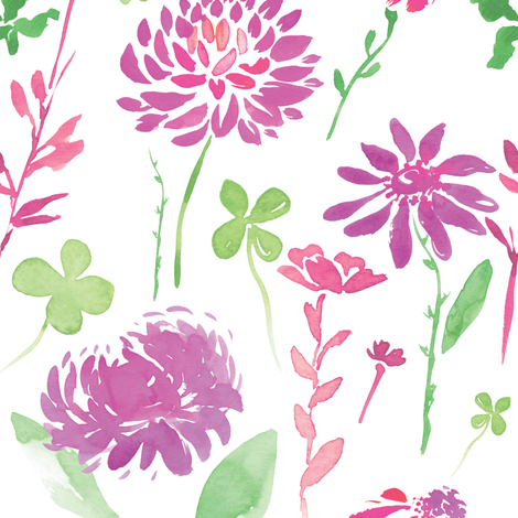 Dancing Watercolor Dahlias fabric by michellegracedesign on Spoonflower - custom fabric
