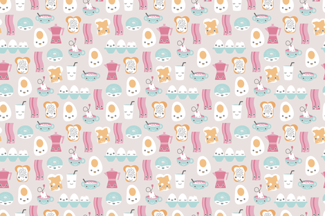Traditional Kawaii recipe with bacon donuts coffee eegs and milk illustration design fabric by littlesmilemakers on Spoonflower - custom fabric