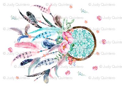 """36"""" x 22"""" Aqua & Pink Dream Catcher / NO REPEAT PRINT"""