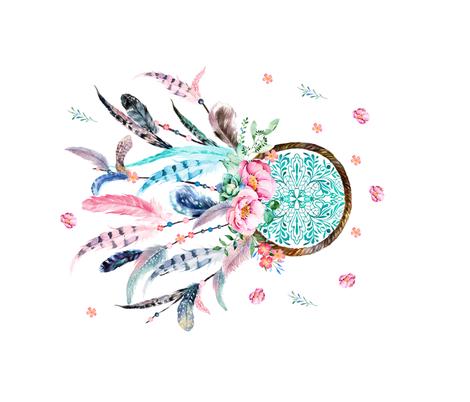 "36"" x 22"" Aqua & Pink Dream Catcher / NO REPEAT PRINT fabric by shopcabin on Spoonflower - custom fabric"