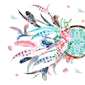 "36"" x 22"" Aqua & Pink Dream Catcher / NO REPEAT PRINT"