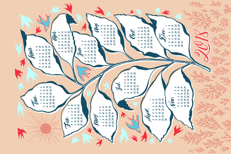 Flock Calendar 2018 fabric by khubbs on Spoonflower - custom fabric