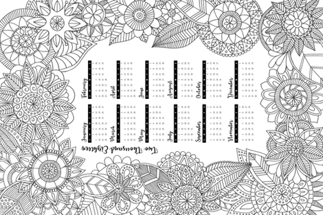 2018_zentangle_calendar fabric by diseminger on Spoonflower - custom fabric