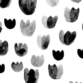 Watercolor tulip buds abstract monochrome summer flowers trend  in black and white ink