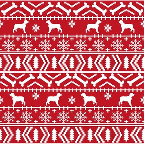 English Springer Spaniel fair isle christmas dog fabric dog breeds red