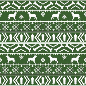English Springer Spaniel fair isle christmas dog fabric dog breeds med green