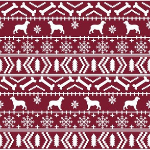English Springer Spaniel fair isle christmas dog fabric dog breeds maroon