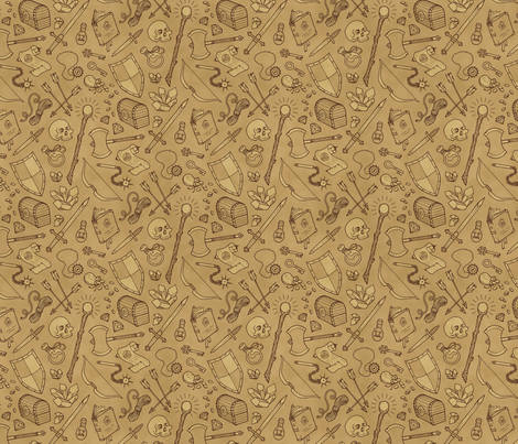 Inventory in Sepia fabric by katymakesthings on Spoonflower - custom fabric