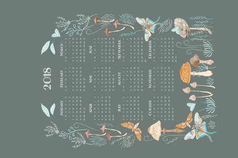 MothMushroom_Calendar-2018 fabric by katiebolanddesign on Spoonflower - custom fabric