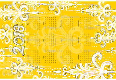 2018 tea towel calendar golden honey damask