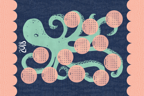 2018 Octopus Calendar Tea Towel fabric by scarlette_soleil on Spoonflower - custom fabric